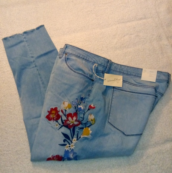 0f135467f3253 Womens Plus Size Embroidered Skinny Jeans NWT
